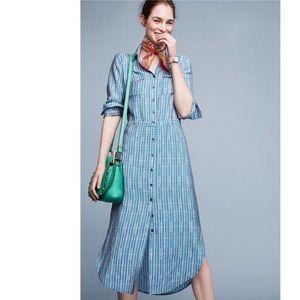 Maeve | Anthropologie maxi blue shirt dress 0453